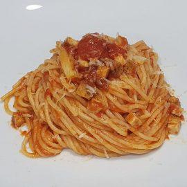 Spaghetti alla amatriciana vegetale